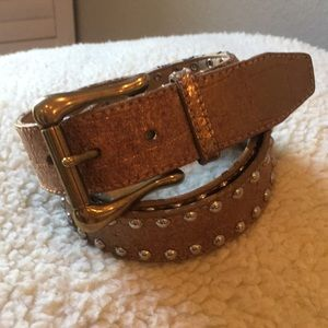 Guess Genuine Leather Metallic Belt with Studs Lg